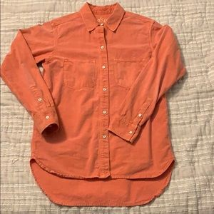 Madewell coral/salmon chambray button down ❌